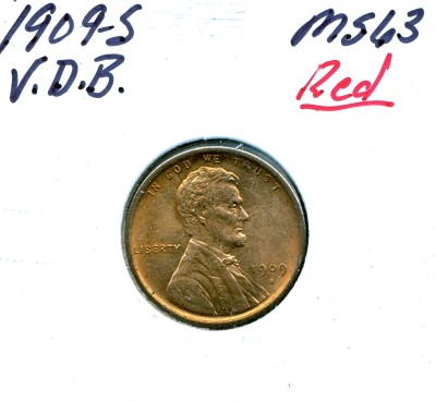 Lot 173 1909-S VDB Lincoln Cent Price Realized: $1,650.00