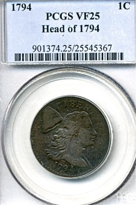 Lot 270 1794 Liberty Cap Large Cent Price Realized: $3,080.00