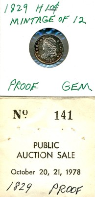Lot 274 1829 Capped Bust Half Dime Price Realized: $4,510.00